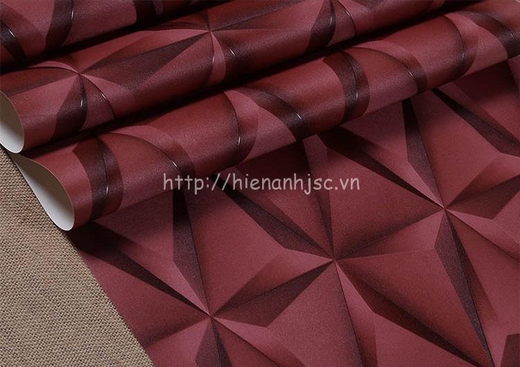 Giấy dán tường 3D - Họa tiết  lập thể 3 chiều cao cấp cuộn màu đỏ