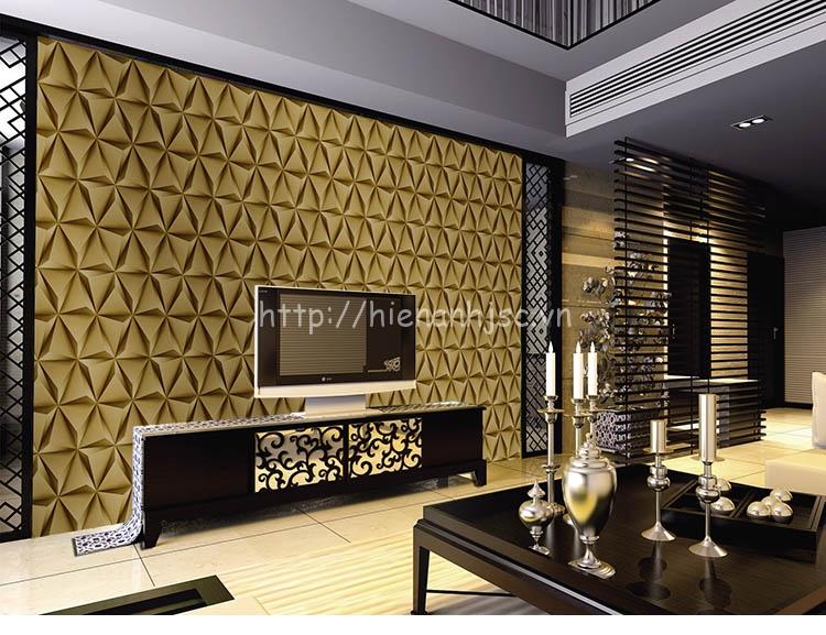 Giấy dán tường 3D - Họa tiết  lập thể 3 chiều cao cấp 3D187 màu vàng