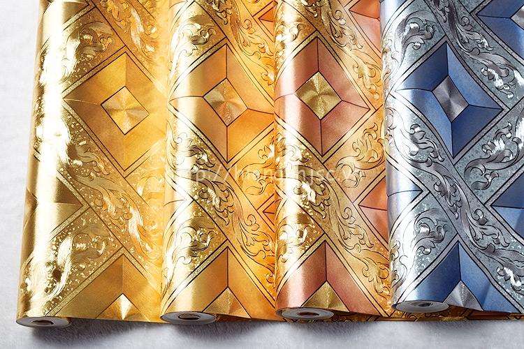 4 màu sắc của mẫu giấy dán tường hoàng gia hình khối hoa văn
