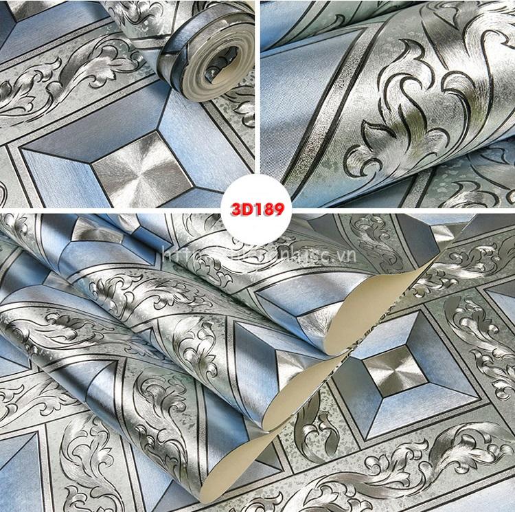 Giấy dán tường hoàng gia hình khối hoa văn màu bạc