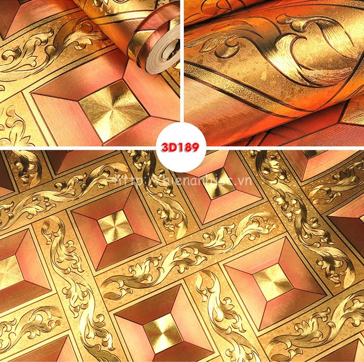 Giấy dán tường hoàng gia hình khối hoa văn màu vàng đỏ