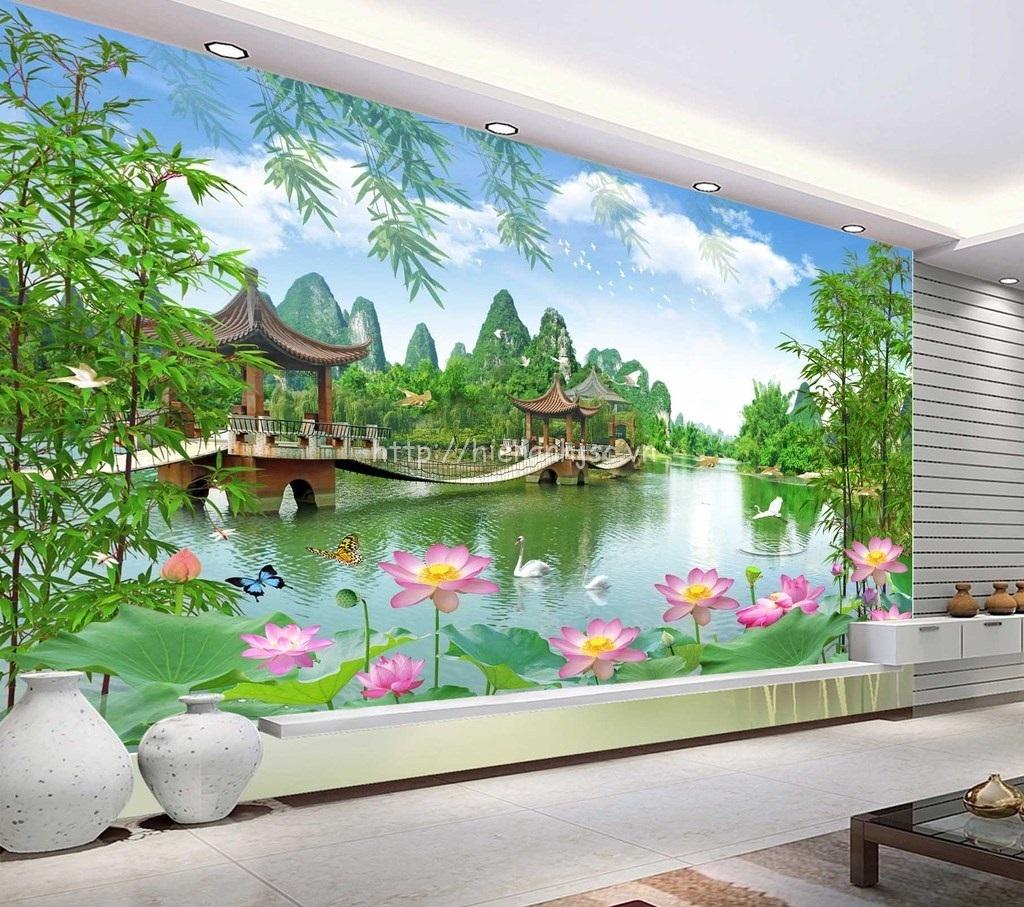 Tranh dán tường 5D - Tranh sơn thủy hữu tình 5D149