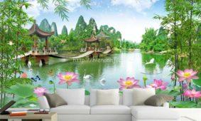 13 mẫu tranh dán tường 3D phong cảnh khổ lớn đẹp nhất