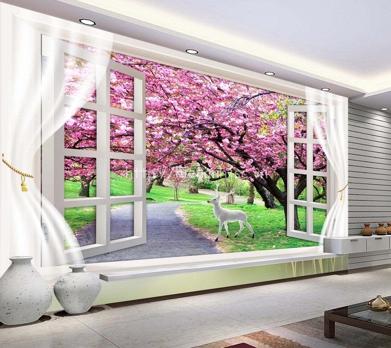 Tranh dán tường 5D - Cửa sổ và con đường hoa anh đào 5D136