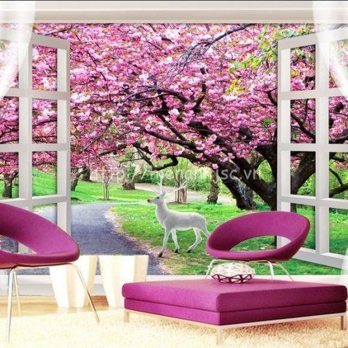 Tranh cửa sổ con đường hoa anh đào - 3D136