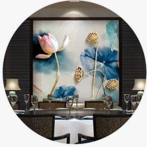 Tranh dán tường phòng khách bối cảnh hoa sen giả ngọc - 5D138