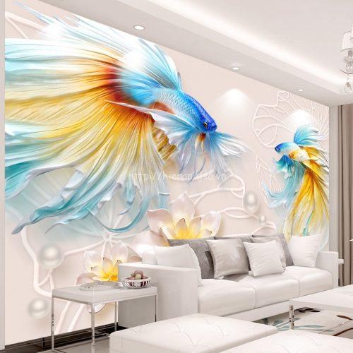 Tranh 5D dán phòng khách cá và hoa sen - 5D139