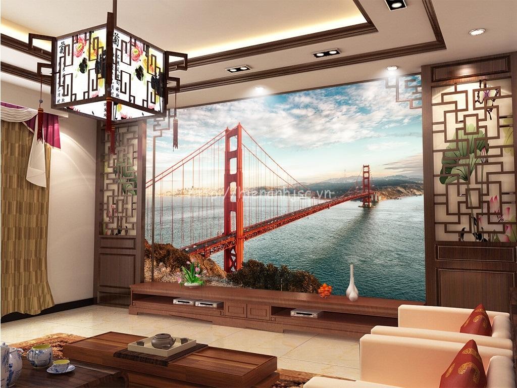 Bức tranh cầu Golden Gate được sử dụng cho phòng khách