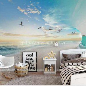 Tranh dán tường bãi biển chim hải âu - 5D143