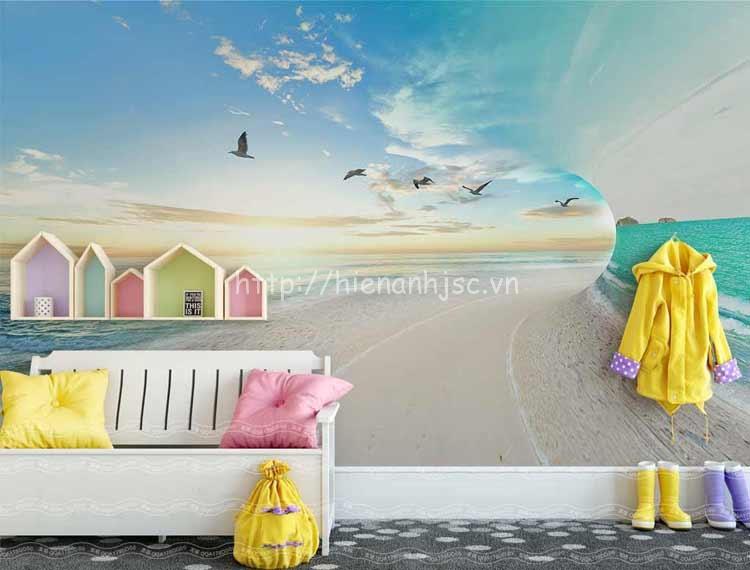 Tranh dán tường 5D - Bối cảnh bãi biển & chim hải âu 5D143
