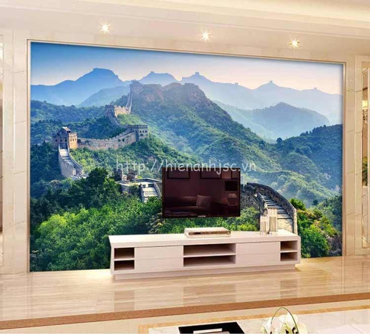 Sử dụng tranh dán tường vạn lý trường thành sau kệ tivi