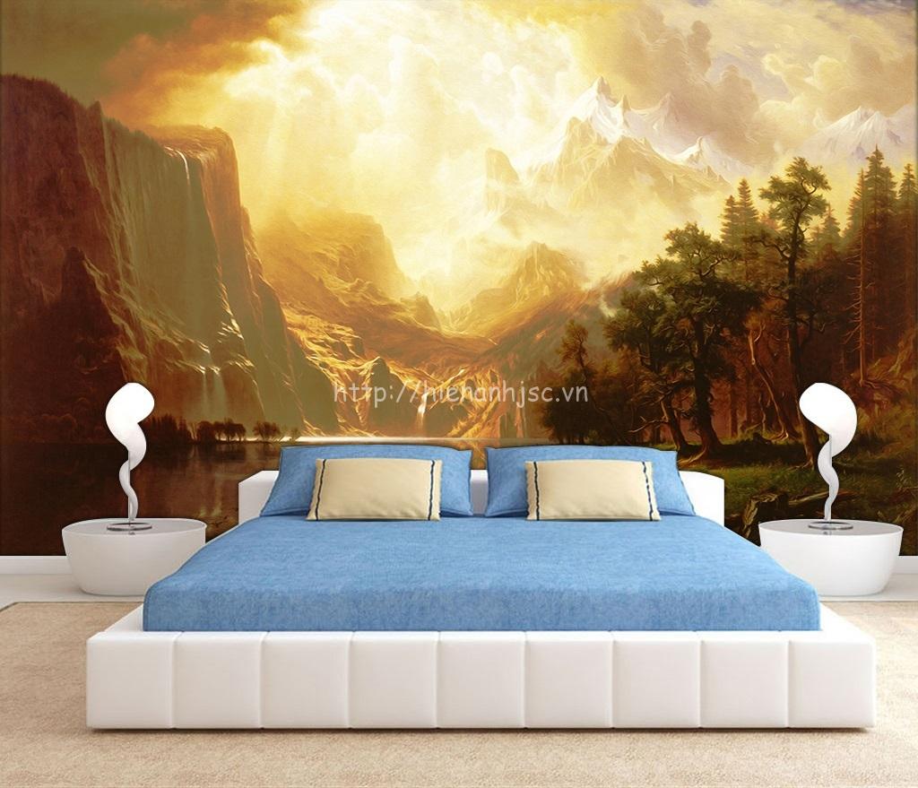 Bối cảnh rừng nguyên thủy phong cách sơn dầu được dán ở đầu giường phòng ngủ