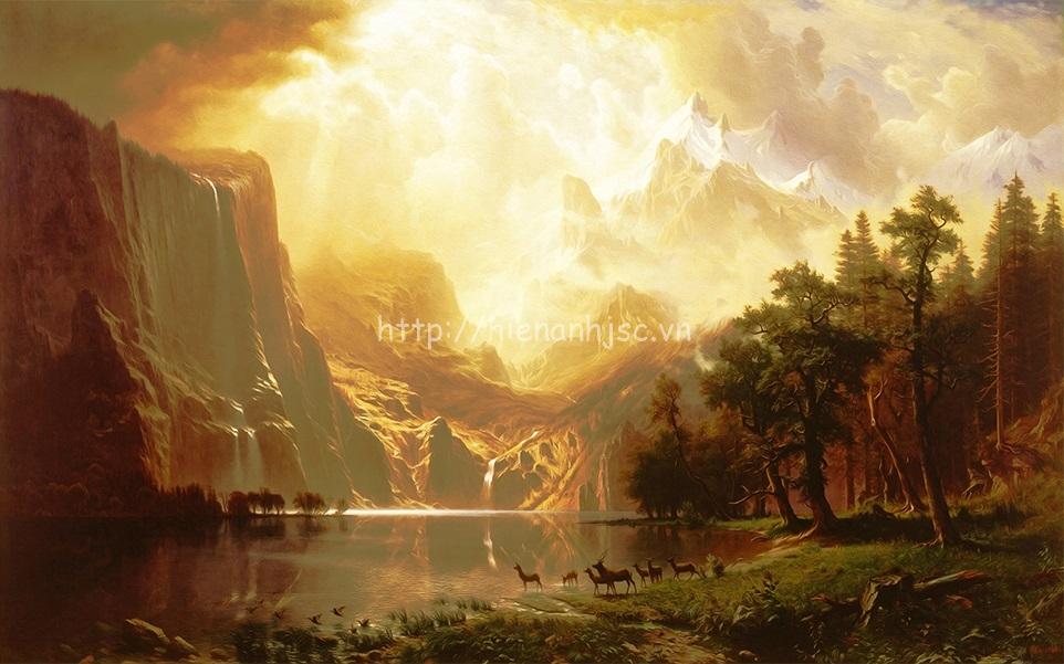 Tranh dán tường 5D - Bối cảnh rừng nguyên thủy phong cách sơn dầu 5D145