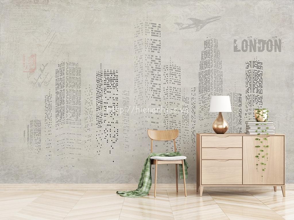 Tranh dán tường 5D - Bối cảnh kiến trúc Bắc Âu phong cách tối giản 5D146