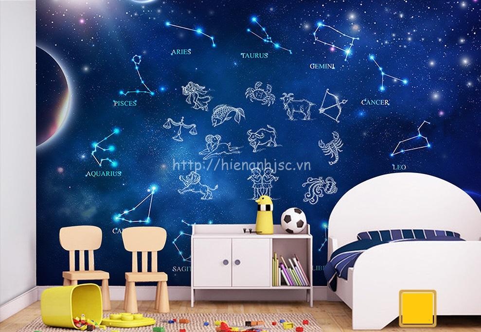 Bức tranh dán tường 12 chòm sao hoàng đạo được dán trang trí trong phòng ngủ của bé