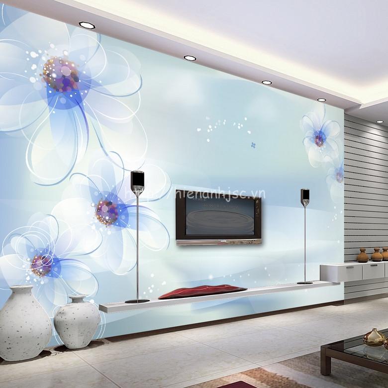 Tranh dán tường 5D hoa xanh tao nhã