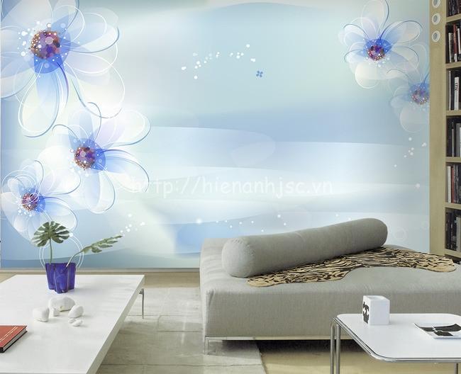 Tranh hoa xanh tao nhã 5D154 cho phòng ngủ của vợ chồng trẻ thêm lãng mạn