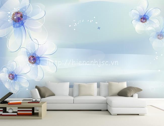 Tranh hoa xanh tao nhã 5D154 cho phòng khách sang trọng