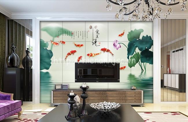 Với căn phòng nội thất hiện đại nhưng sử dụng tranh cửu ngư quần hội vẫn là điểm nhấn nhẹ nhàng mang ý nghĩa phong thủy sâu sắc