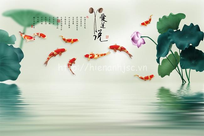 Tranh dán tường 5D - Tranh cửu ngư quần hội phong cách vẽ tay 5D156