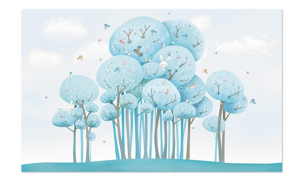 Tranh dán tường 5D - Bối cảnh chim rừng thỏ trẻ em dễ thương 5D157
