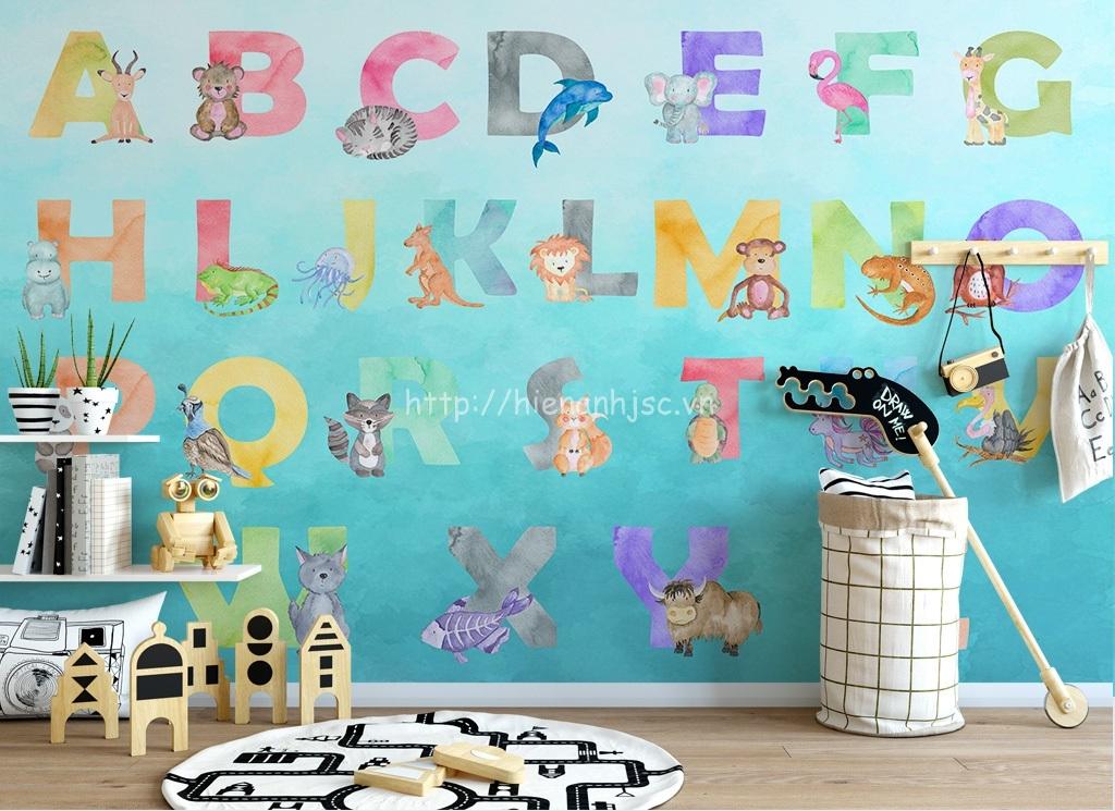 Tranh dán tường bảng chữ cái cho không gian vui chơi của bé