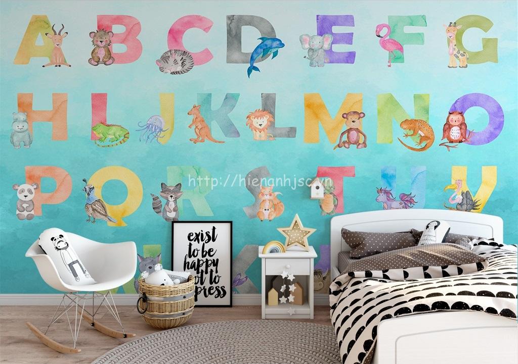 Tranh dán tường bảng chữ cái cho phòng ngủ của bé