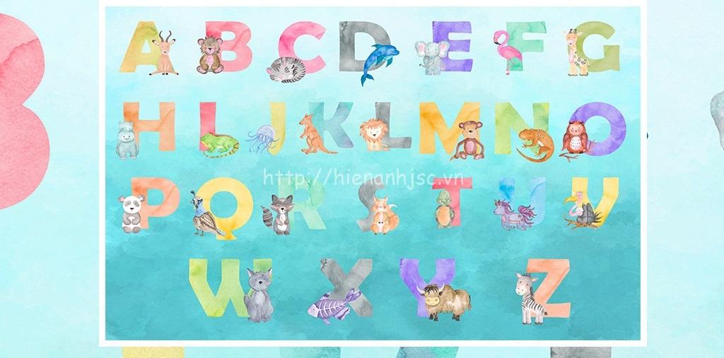 Tranh dán tường 5D - Bảng chữ cái tiếng Anh sắc màu cho bé 5D158