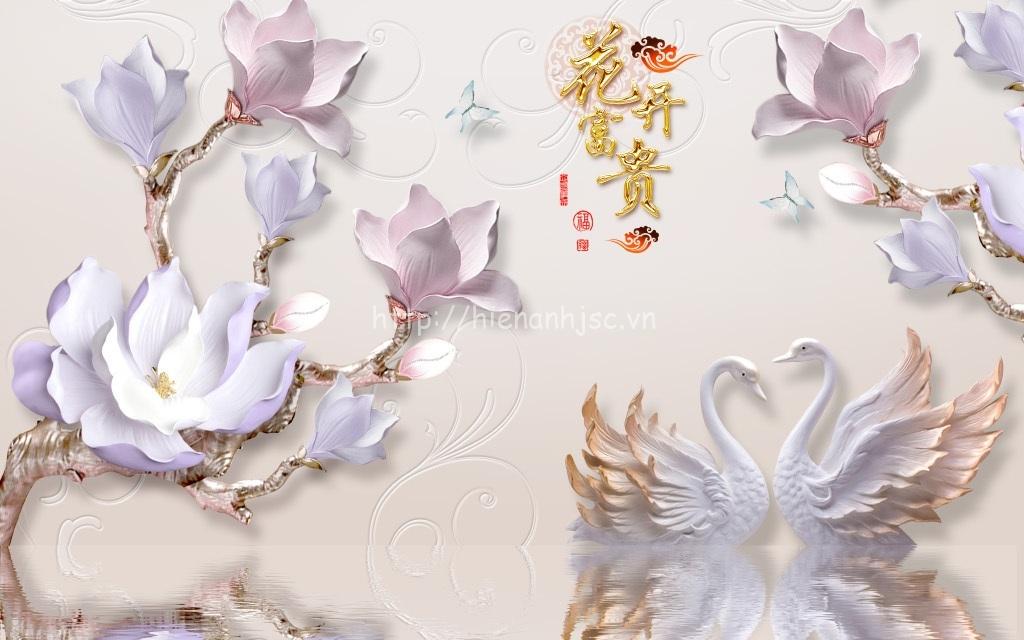 Tranh dán tường 5D - Tranh hoa sứ, thiên nga giả ngọc 5D159