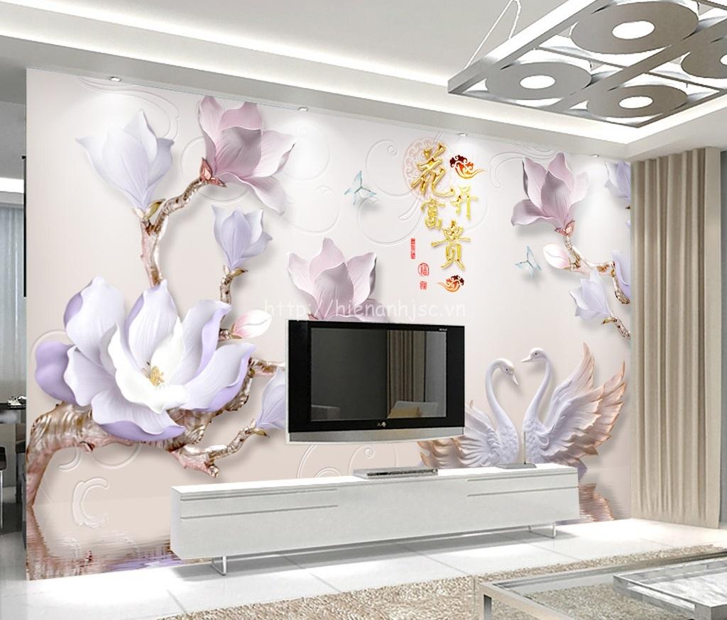 Tranh hoa sứ, thiên nga giả ngọc dán sau kệ ti vi cho phòng khách thêm sang trọng