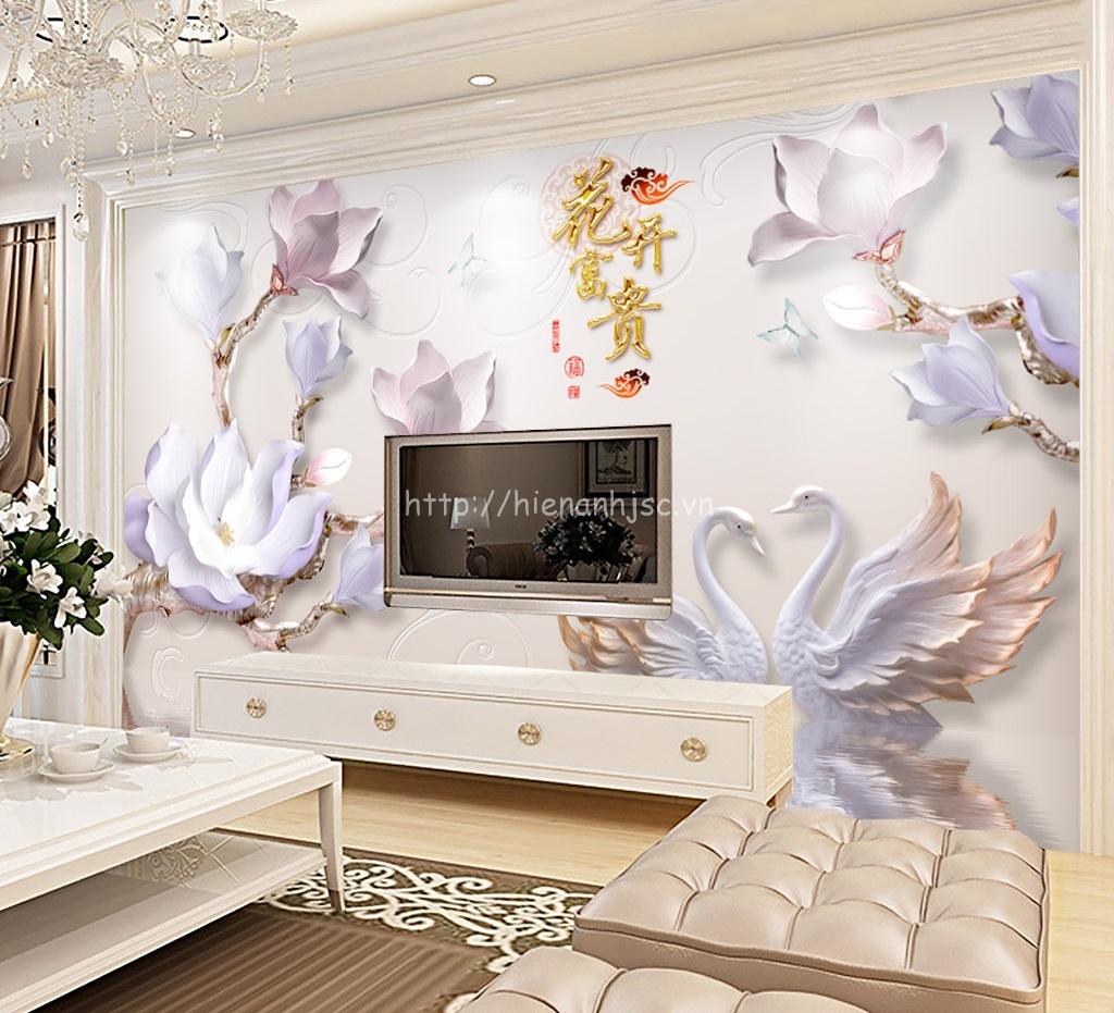 Tranh hoa sứ, thiên nga giả ngọc dán sau kệ ti vi cho phòng khách sang trọng, hiện đại