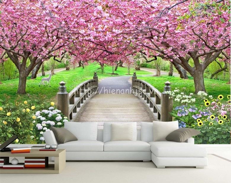 Tranh dán tường bối cảnh cầu vườn hoa anh đào - 5D137