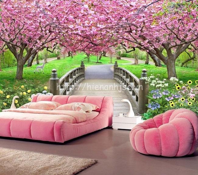 Cảm giác yên bình trong phòng ngủ với tranh dán tường cầu gỗ và hoa anh đào
