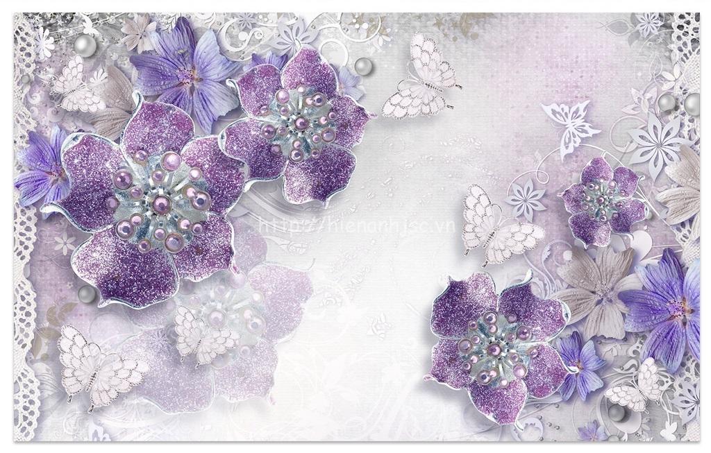 Tranh dán tường 5D - Tranh hoa tím ngọc trai cao quý phong cách Châu Âu 5D160