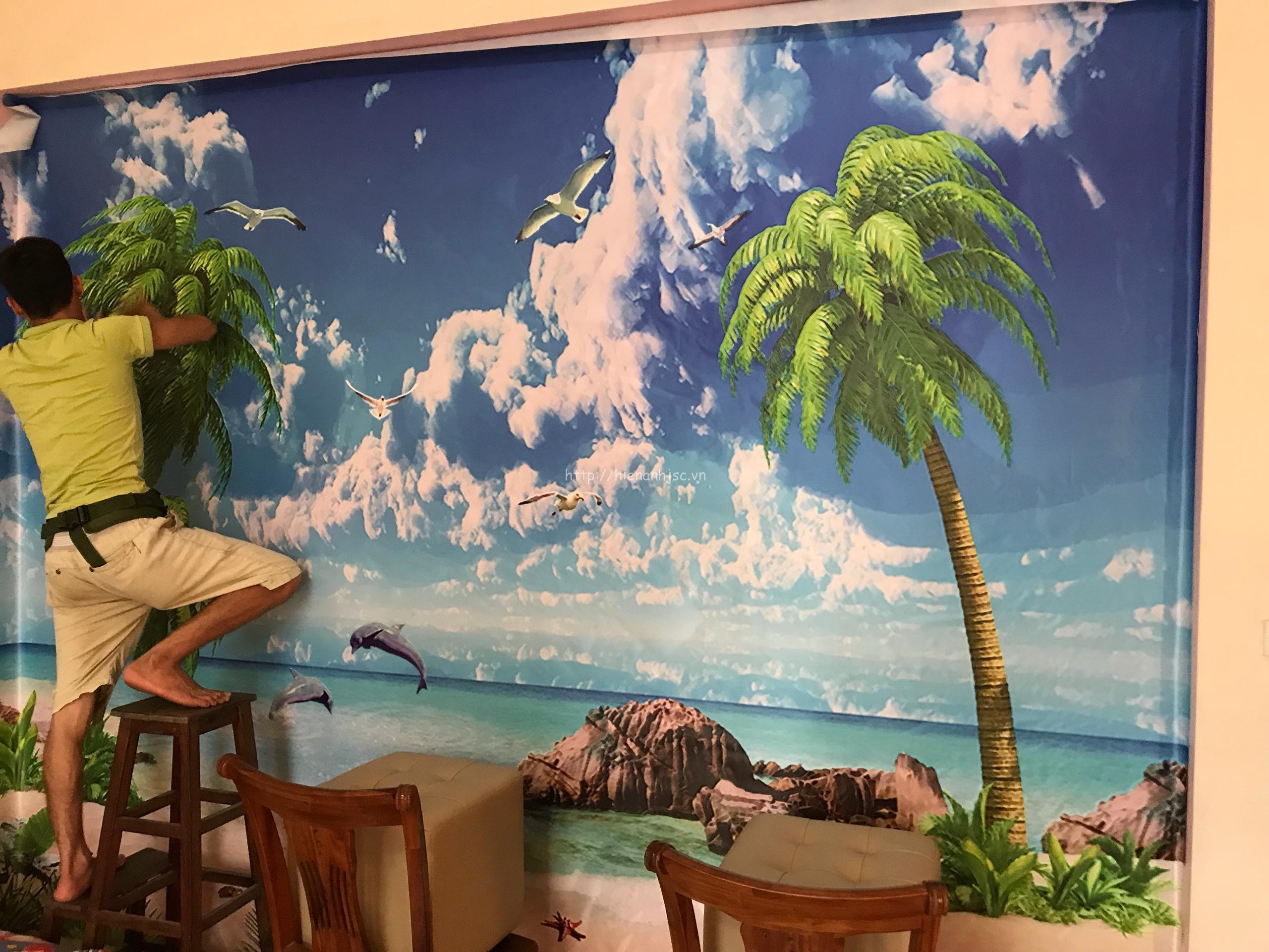 Thi công tranh dán tường tại nhà