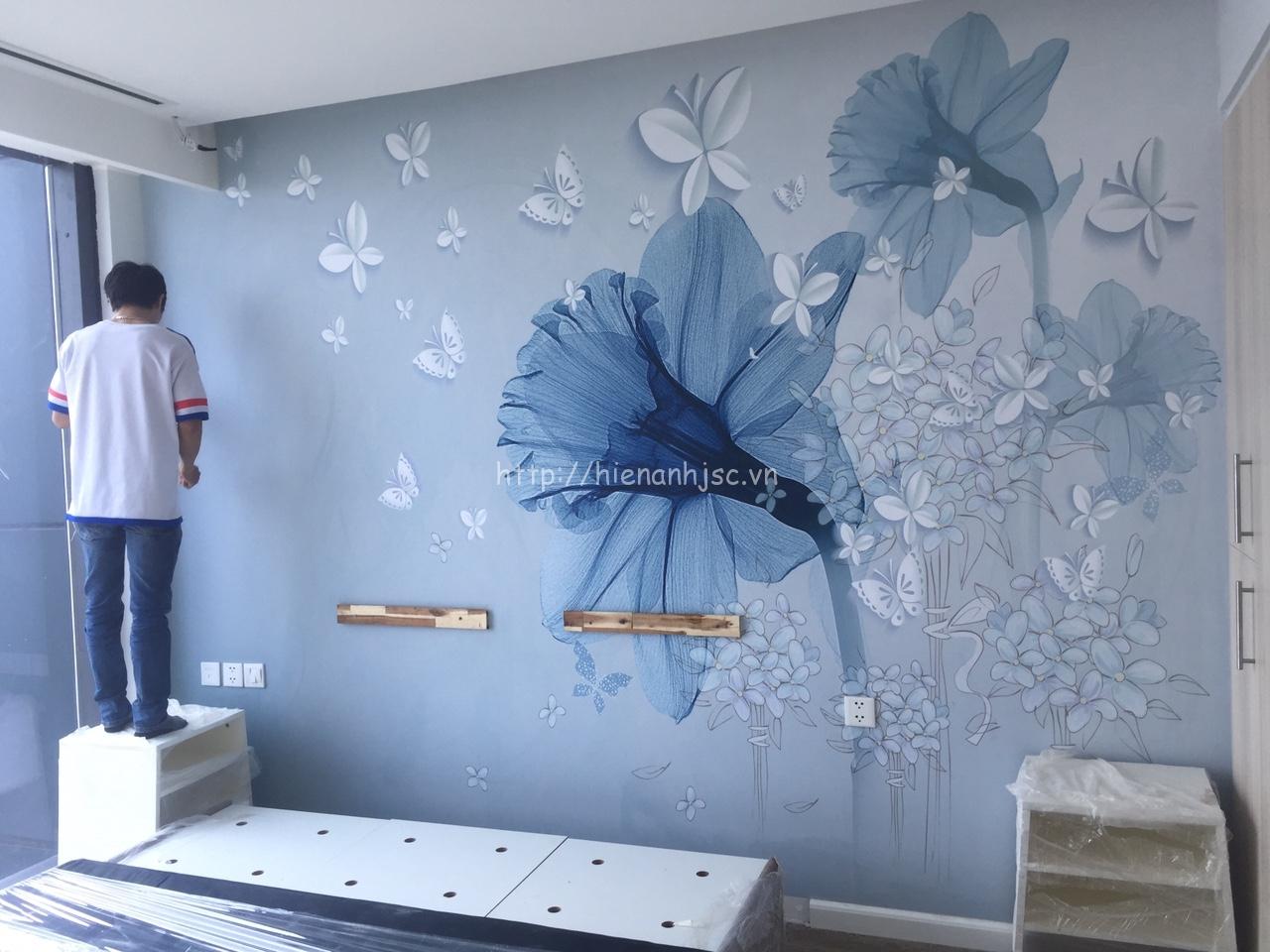 Thi công tranh dán tường phòng ngủ tại TPHCM