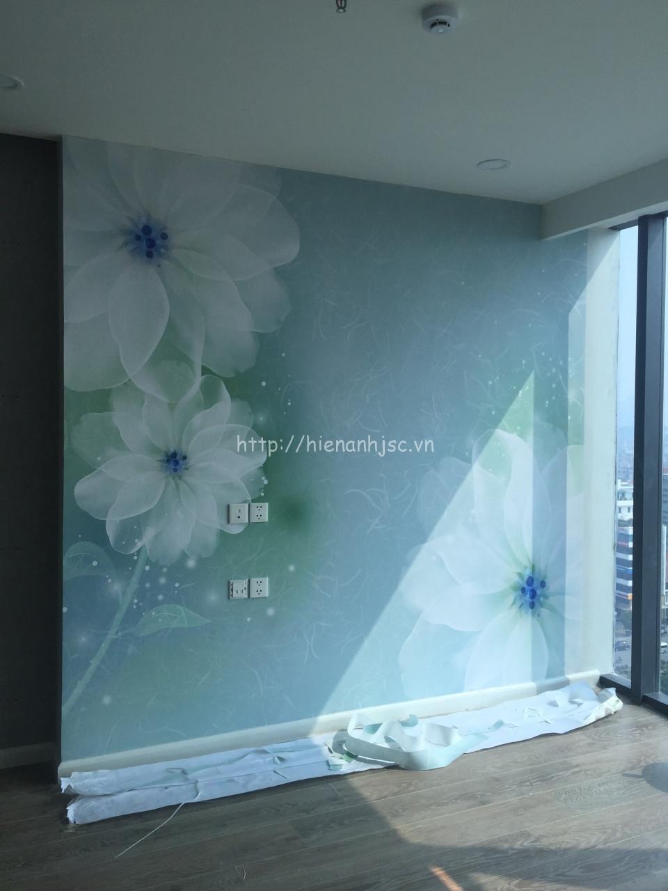 Thi công tranh dán tường hoa chị Thủy Nguyễn Chí Thanh - Hà Nội