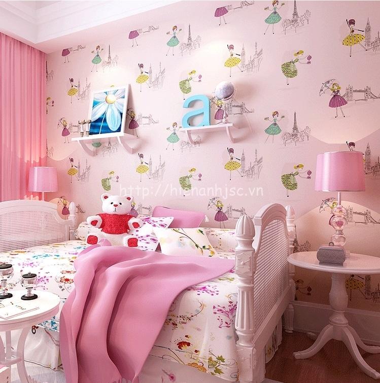 Giấy dán tường 3D - Họa tiết công chúa màu sắc dễ thương cho bé 3D191 màu hồng