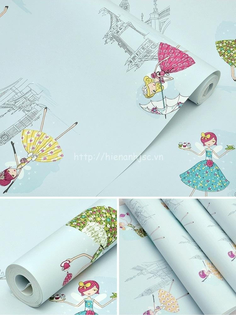 Giấy dán tường 3D - Họa tiết công chúa màu sắc dễ thương cho bé 3D191 màu xanh