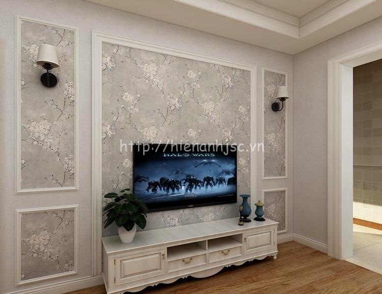 Giấy dán tường 3D - Họa tiết hoa đào phong cách Mỹ cổ điển 3D192 xám