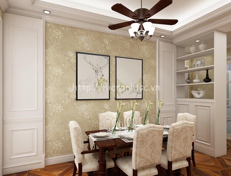 Giấy dán tường 3D - Họa tiết hoa đào phong cách Mỹ cổ điển 3D192 vàng