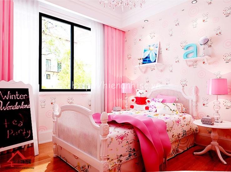 Căn phòng ngủ của bé giống như 1 căn phòng của cô công chúa nhỏ