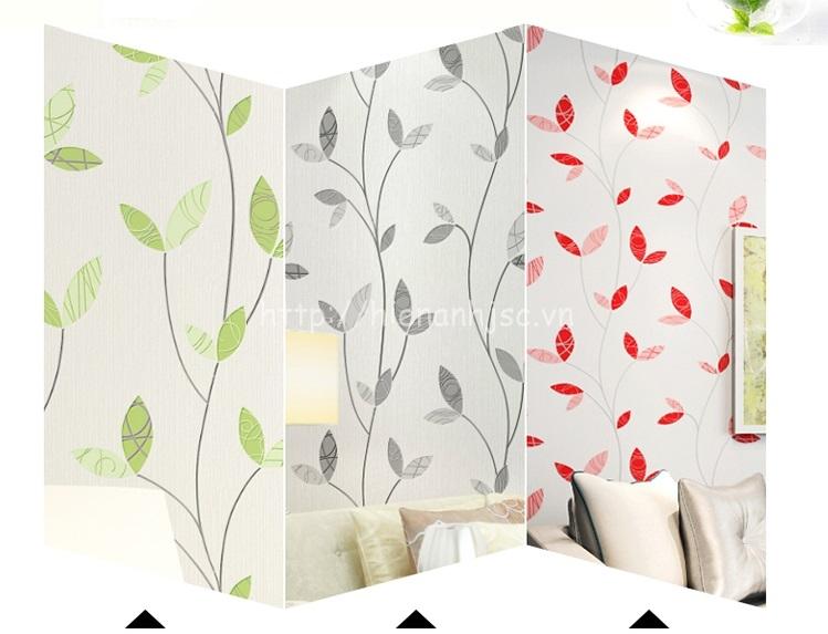 Bộ 3 màu của sản phẩm Giấy dán tường 3D - Họa tiết lá cây nhẹ nhàng phong cách Hàn Quốc 3D197