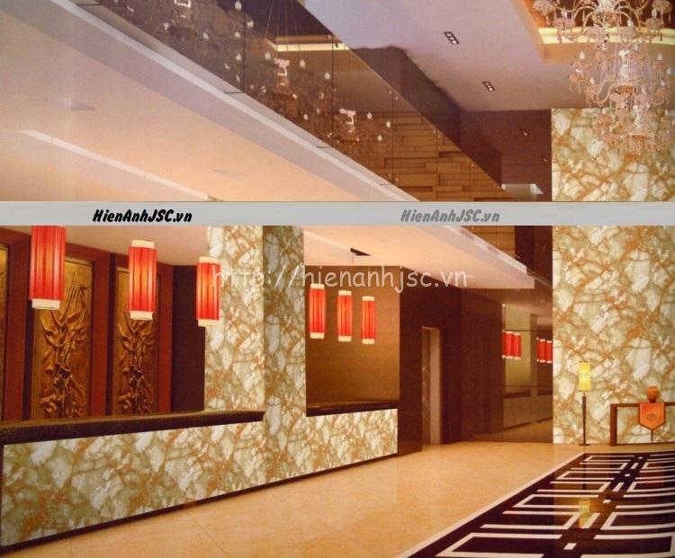 Không gian đẳng cấp của sảnh khách sạn khi sử dụng giấy dán tường giả đá