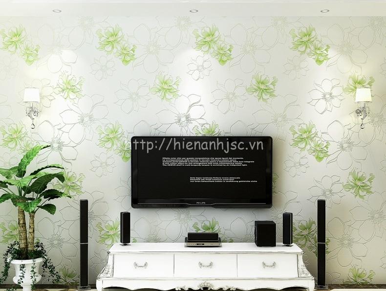 Giấy dán tường 3D - Họa tiết hoa hồng lớn hiện đại 3D205 màu xanh