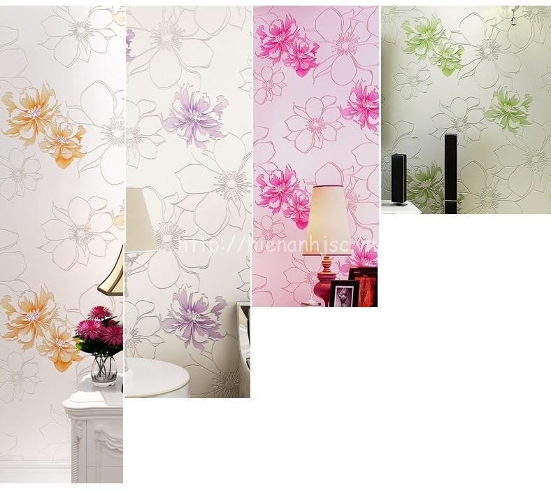 4 màu sắc nhẹ nhàng của mẫu giấy dán tường hoa hồng lớn