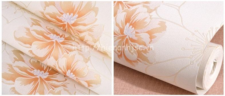 Giấy dán tường 3D - Họa tiết hoa hồng lớn hiện đại 3D205 màu cam
