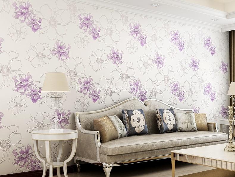 Giấy dán tường 3D - Họa tiết hoa hồng lớn hiện đại 3D205 màu tím