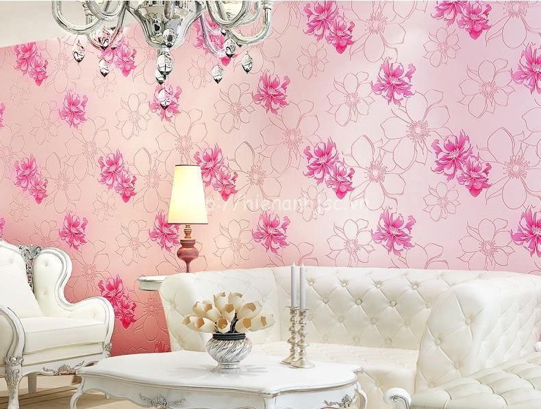 Giấy dán tường 3D - Họa tiết hoa hồng lớn hiện đại 3D205 màu hồng
