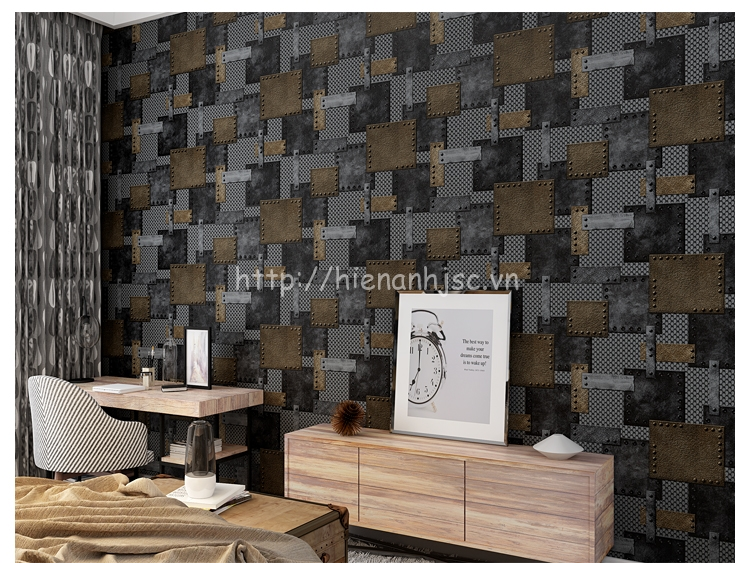 Giấy dán tường 3D - Họa tiết tường sắt công nghiệp 3D208 mẫu 1